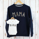 Mama And Baba Leopard Print Sweatshirt Set