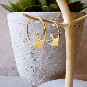 22ct Gold Swallow Hoop Earrings