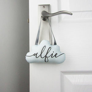 Personalised Cloud Hanging Decoration - door plaques & signs