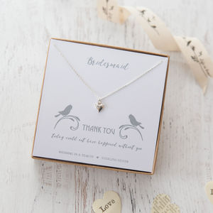 'Thank You' Heart Sterling Silver Necklace - wedding jewellery