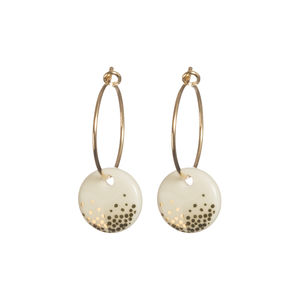 Porcelain Silver Or Gold Mist Hoop Earrings