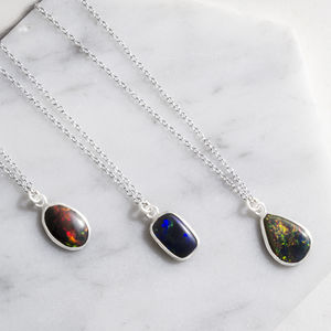Natural Black Opal Silver October Birthstone Necklace