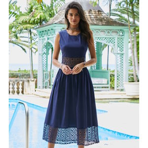 Navy Blue Cheltenham Cotton Dress - dresses