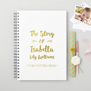 Personalised New Baby 'Story' Memory Book - gifts for babies