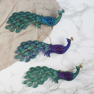 Glitter Peacock Hanging Decoration - hanging decorations