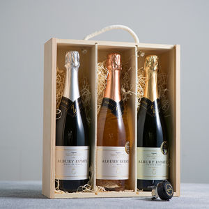 English Sparkling Wine Gift Box With Tasting Notes - 60th birthday gifts
