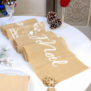 Joyeux Noel French Jute Christmas Table Runner - table decorations