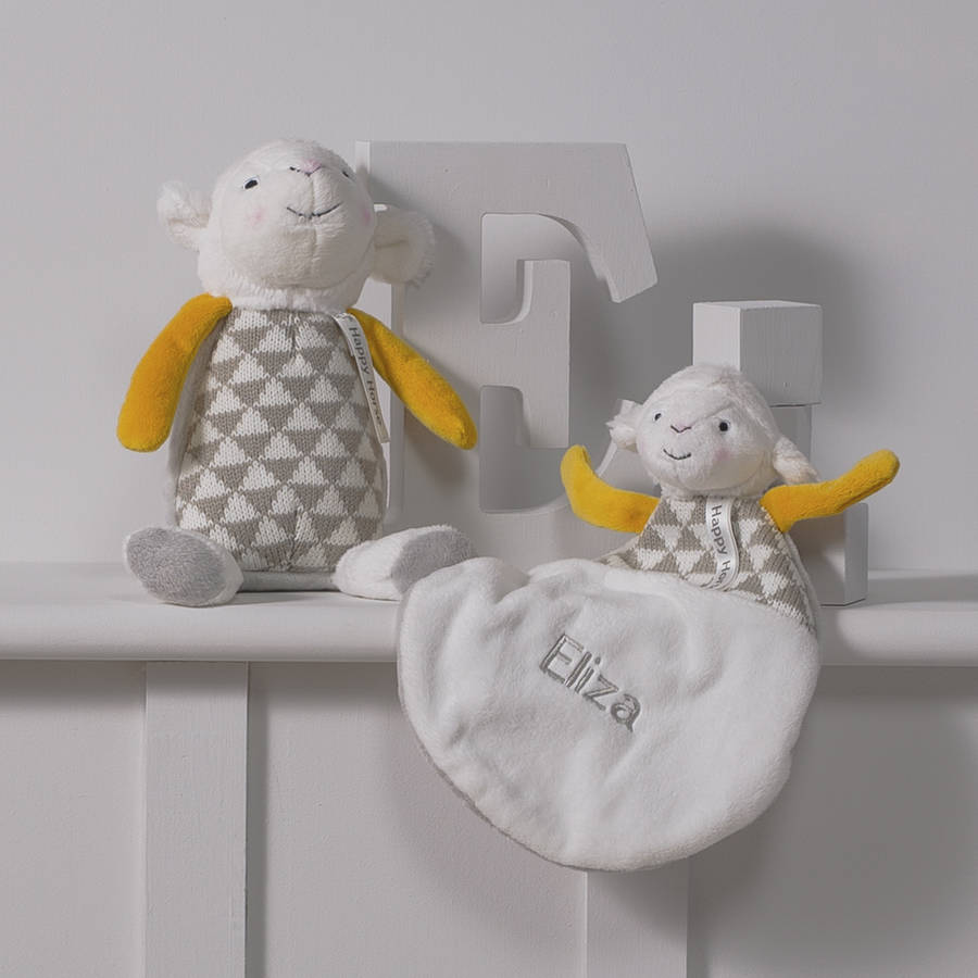 Personalised Lamb Baby Comforter And Soft Toy Gift Set