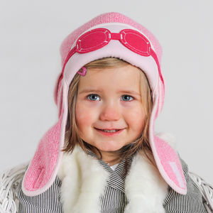 Baby's Winter Pilot Hat With Goggles Pink - babies' hats