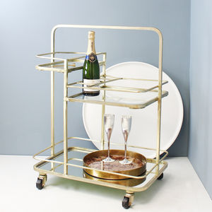 Gold Three Tier Barware Trolley - furniture