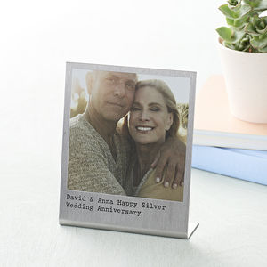 Personalised Stainless Steel Polaroid Print - 25th anniversary: silver