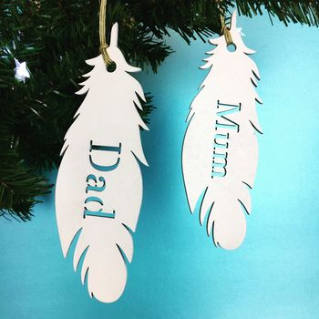 Personalised White Feather Name Christmas Decoration