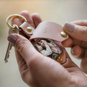 Personalised Metal Photo Keyring With Pink Leather Case - sale