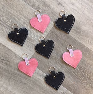 Leather Hair On Hide Heart Keyring
