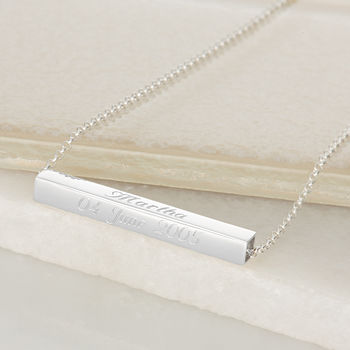 Engraved Silver Slider Necklace by Lily Charmed