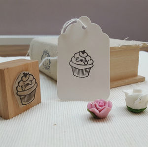 Cupcake Rubber Personalised Stamp For Crafts And Baking - ribbon & wrap