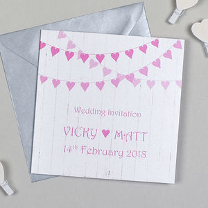 Heart Bunting Wedding Invitation