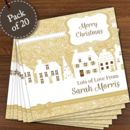 Personalised Festive Village Pack Of 20 Christmas Cards