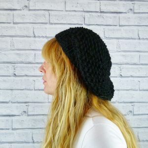 Handknitted Black Merino Wool Beret - hats, scarves & gloves