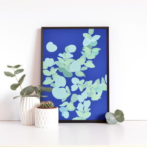 Eucalyptus On Blue - posters & prints