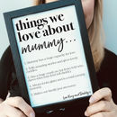 Personalised Things We Love About Mum Or Mummy Print