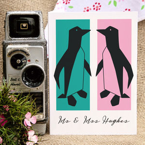 Retro Penguins Wedding, Anniversary Or Engagement Card - anniversary cards