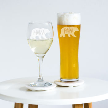 Mama And Papa Bear Glass Set