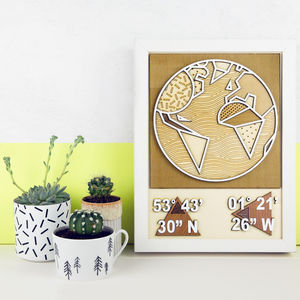 Personalised 3D Coordinates Wall Art - gifts for travel-lovers