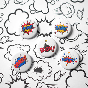 Set Of Five Superhero Badges - pins & brooches