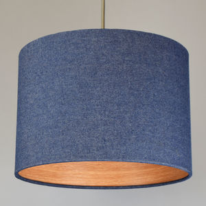 Denim Drum Lampshade With Choice Of Wood Lining