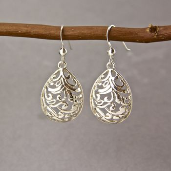 Sterling Silver Ornamental Drop Earrings