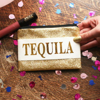 Personalised Tequila Lover Glitter Coin Purse Gift
