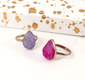 Rose Gold Copper Druzy Teardrop Stacking Ring - rings