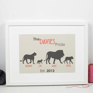 Personalised Family Lion Print - children's pictures & paintings