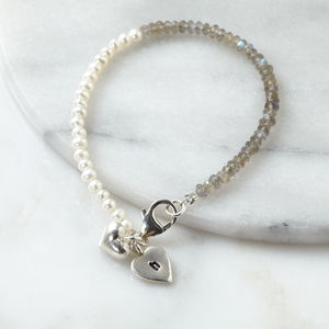 Personalised Mini Pearl And Labradorite Bracelet - bracelets & bangles