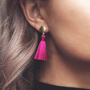 Gabby. Mini Silk Tassel Drop Earrings Fuchsia - earrings