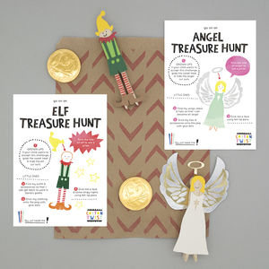 Christmas Party Bag With Angel And Elf Peg Doll Kits - stocking fillers