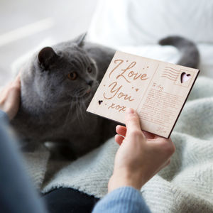 Engraved Wooden 'I Love You' Postcard - 5th anniversary: wood