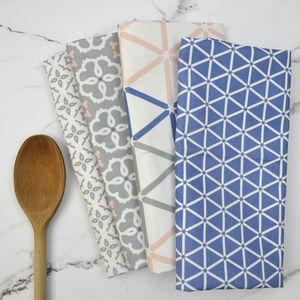 Set Of Four Gilda Range Tea Towels - new in home