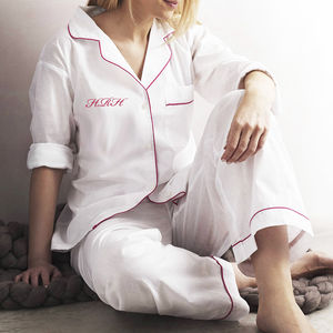 Personalised Women's White And Pink Cotton Pyjama's - lingerie & nightwear