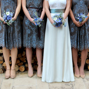 Winter Blue And Chocolate Lace Bridesmaid Dresses - bridesmaid dresses