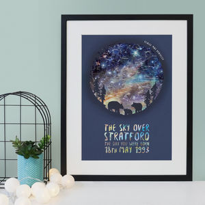 Personalised Bear And Cub Star Chart Print - children's room