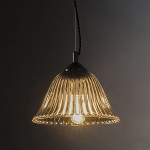 Fluted Glass Pendant Light - pendant lights
