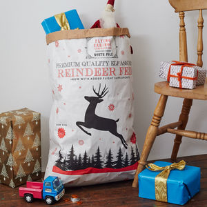 Nordic White Kraft Paper Christmas Sack - stockings & sacks