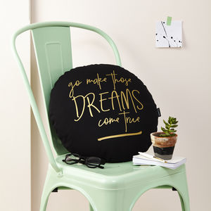 'Dreams Come True' Black And Gold Cushion - cushions