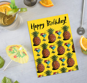 Repeat Pattern Pineapple Card - birthday cards