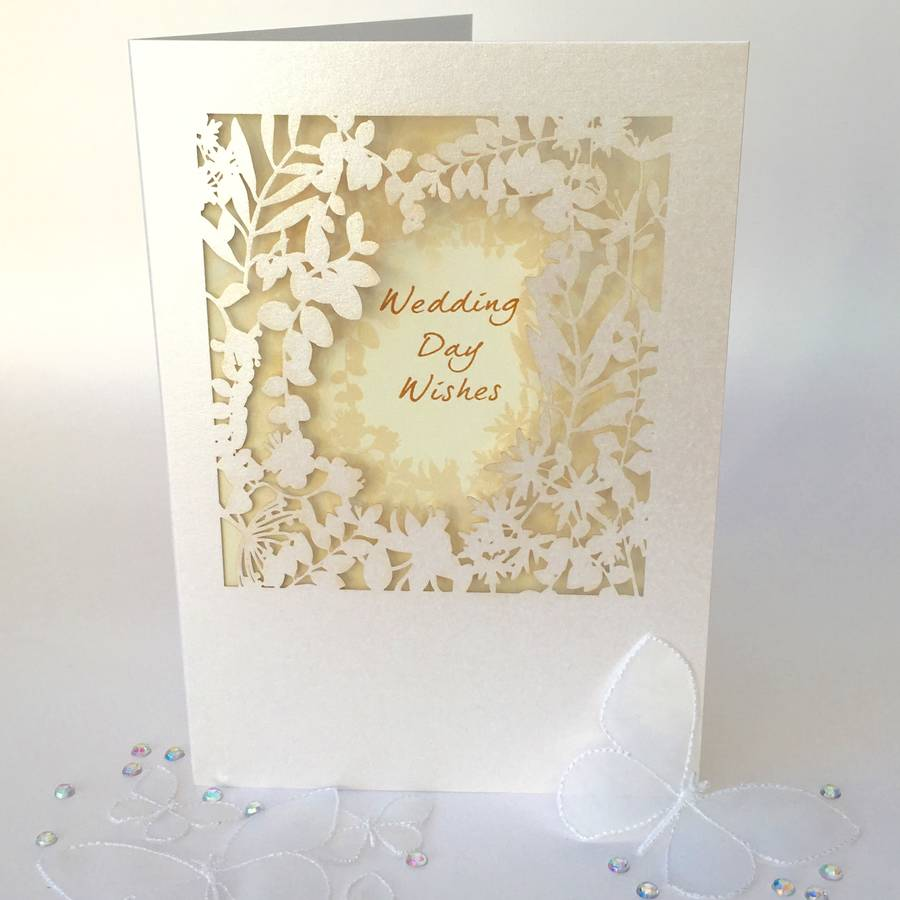 Wedding Card Wishes.Wedding Day Wishes Delicate Cut Card By Pink Pineapple Home