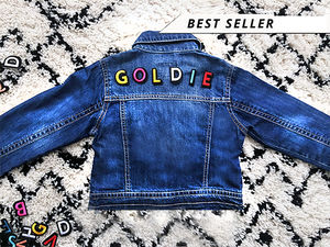 Kids Personalised Denim Jacket Rainbow Letters - free delivery gifts to mainland UK