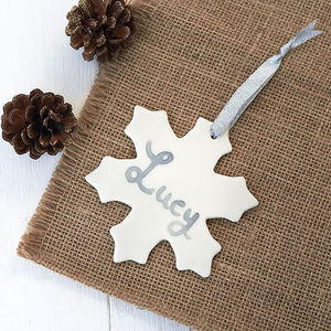Hanging Porcelain Snowflake Decoration - tree decorations