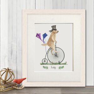 Personalised Golden Retriever On Penny Farthing Print
